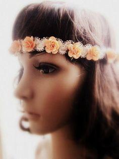 Boheems hoofdband perzik bloem rose haarband guirlande kroon haken kan - Dressoir Fashion