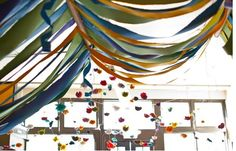 Fabric streamers and fabric flower garlands Streamer Decorations, Streamers, Birthday Decorations, Wedding Decorations, Jones Design Company, Dramatic Play Area, Ikea, 30th Birthday Parties, Kid Parties