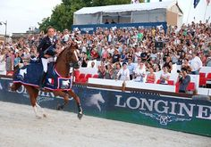 19 year old Bertram Allen makes history as the youngest ever Longines Global Champions Tour Grand Prix winner! And he looks pretty happy about it too!  Photo: Stefano Grasso / LGCT foto van Global Champions Tour.