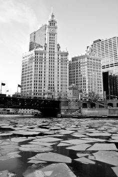Chicago Tribune Tower and Frozen Chicago River