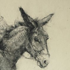 Well executed charcoal drawing of an Arab man seated on a donkey, his wife beside him carrying a basket on her head.. Unsigned, but I believe it to be the work of Ernest Borough Johnson as was amongst a portfolio of his signed works. In good condition, a few light smudges and pin holes to each corner, there has been an additional piece of paper attached to the base on which the feet are drawn. Measures: 51 x 37cm (20 x 14.5). Thanks for looking! Take a look at my other treasures here: h...