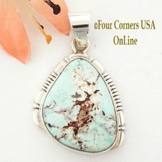 Four Corners USA Online - Dry Creek Turquoise Sterling Silver Pendant by Native American Navajo Robert Concho NAP-1434, $167.00 (http://stores.fourcornersusaonline.com/dry-creek-turquoise-sterling-silver-pendant-by-native-american-navajo-robert-concho-nap-1434/)