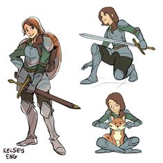 """kelseyeng: """"Some exploration for knight in training, Charys! She likes animals and adventure. I started compiling all the related images here:. Female Character Design, Character Creation, Character Concept, Character Art, Concept Art, Character Ideas, Dungeons And Dragons Characters, Dnd Characters, Fantasy Characters"""