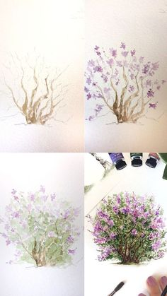 Intro to Charcoal - Easy Things to Draw Lilac bush watercolor painting tutorial process photos. Watercolor Painting Techniques, Watercolour Tutorials, Watercolour Painting, Painting & Drawing, Watercolors, Watercolor Portraits, Painting Tutorials, Painting Trees, Watercolor Artists