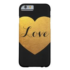 Personalized Black and Gold Heart Barely There iPhone 6 Case