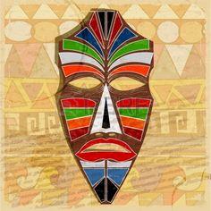 Masque ethnique sur fond de cru Banque d'images