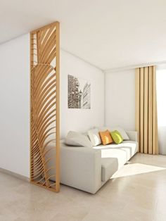 Looking for dividers that are both design and original? Look at our creations, and order your screens and trellises at home. Wood Wall Design, Apartment Color Schemes, Room Partition Designs, Small Space Interior Design, Built In Furniture, Living Room Modern, Small Rooms, Bedroom Wall, Divider