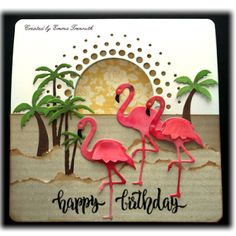 Ideas Birthday Card Design Ideas Memories Box For 2019 Girl Birthday Cards, Birthday Card Design, Handmade Birthday Cards, Memory Box Cards, Memory Box Dies, Flamingo Craft, Flamingo Birthday, Bee Cards, Marianne Design