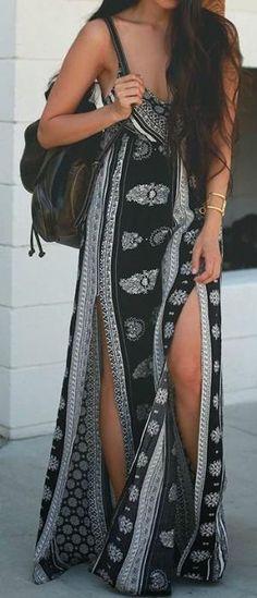 women clothes fashion style long maxi black dress bag summer by Eva