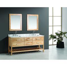 "Design Element London 72"" Double Bathroom Vanity Set with Open Bottom - Oak   Free Shipping - Modern Bathroom 72 Double Sink Vanity, Vanity Set With Mirror, Bathroom Sink Vanity, Bath Vanities, Sinks, Under Cabinet Shelf, Free Standing Vanity, Marble Vanity Tops, Marble Top"