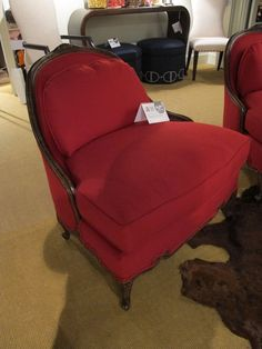 The Julie Chair was designed for Stanford Furniture by my friend, interior designer Julie Bova.  The red wool provides a sophisticated, feminine touch . . . just like Julie!  #HPMkt