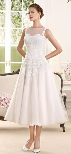 Fara Sposa 2016 Tea Length Wedding Dress 5876                                                                                                                                                     More