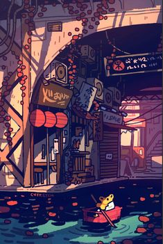 Art of Cheryl Young Aesthetic Drawing, Aesthetic Art, Aesthetic Anime, Japon Illustration, Graphic Illustration, City Drawing, Anime Scenery Wallpaper, Graphic Wallpaper, Environmental Art