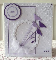 Birthday card made with card from Papermill Direct, memory box and spellbinder dies and m bossabilities folder. by patrica Memory Box Cards, Memory Box Dies, Poppy Cards, Happy Birthday, Purple Birthday, Spellbinders Cards, Birthday Cards For Women, Embossed Cards, Beautiful Handmade Cards