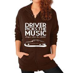 DRIVER MUSIC Zip Hoodie (on woman)