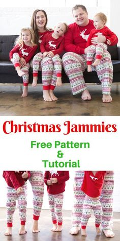 Learn How to Make Your Own Christmas PJ's with these Free PDF Sewing Patterns and Knit Sewing Tutorial #christmassewing