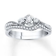Diamond Bridal Set 1/4 ct tw Round-cut 14K White Gold