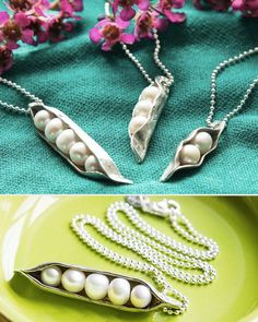 """Cast in fine pewter, then hand sculpted, each """"pod"""" is filled with water pearls (""""peas"""") and set on a sterling silver ball chain. Each necklace is customizable up to five pearls, one for each child in the wearer's heart. Jewelry Crafts, Jewelry Box, Jewelry Making, Jewlery, Metal Clay, Unique Gifts, Great Gifts, Bijoux Diy, Freshwater Pearl Necklaces"""