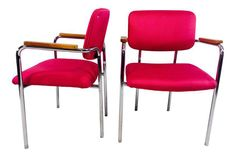 Midcentury Mod Pink Office Chairs - a Pair on Chairish.com