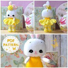 PDF Pattern Felt Bunny ballerina Felt Pattern Doll por HelloFelt
