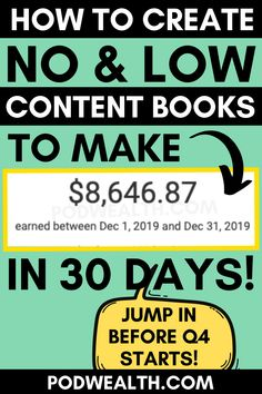 Discover how I made $8,600  selling no and low content books online without any experience! I started this a year ago and I suggest you to jump in before Q4 starts to see the best results!