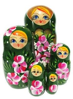Roses 5 Piece Russian Babushka Doll