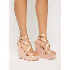 Miss Selfridge MYTH Wrap Satin Wedge Sandals ($70) ❤ liked on Polyvore featuring shoes, sandals, nude, summer wedge shoes, summer sandals, high heel wedge sandals, wrap sandals and nude sandals