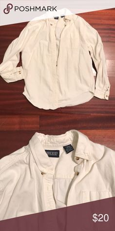 Oversized cotton botton down Neutral, off-white color with pretty tortoise shell style buttons. Vintage Lands End — can't get better basics anywhere else! Lands' End Tops Button Down Shirts