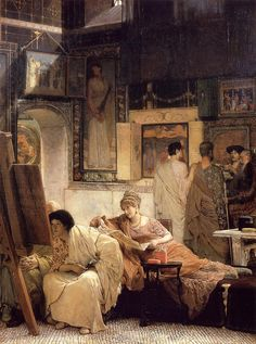 """A Picture Gallery (Benjamin Constant)"", 1866, by Sir Lawrence Alma-Tadema (Dutch, 1836-1912)."