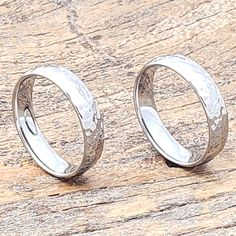 Tungsten ultra polished hammered rings in a dome 5mm width. The comfort fit design making for all day comfortable wear. Free Priority shipping. Tungsten Engagement Rings, Tungsten Wedding Bands, Morganite Engagement, Diamond Wedding Bands, Tungsten Rings, Tungsten Carbide, Stylish Rings, Round Diamond Ring, Metals