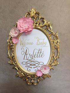 Gold and pink Welcome Sign, baby shower welcome sign, baptism welcome sign, baroque ornate frame, wedding frame, nursery frame