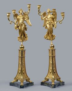 A pair of Empire three-light candelabra attributed to Pierre-Philippe Thomire after a design by Pierre-Louis-Arnulphe Duguers de Montrosier, Paris, date circa 1805