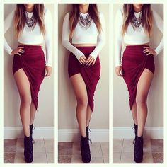 Sexy Fashion 2015 New Solid High Low Wrapped Elastic Waist Asymmetrical Skirt Draped Cut Out Skirt Skirt Outfits, Cute Outfits, Draped Skirt, High Low Skirt, Asymmetrical Skirt, Sexy Bikini, Fashion Outfits, Fashion Trends, Teen Fashion