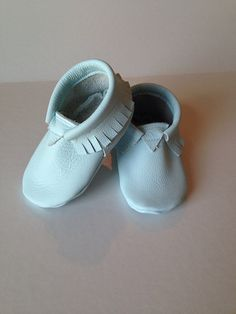 Baby Blue moccasins, genuine leather, Size 6-12 ready to ship on Etsy, $28.00