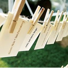 WHAT IF: instead of a wedding guestbook I left a card at each person's table setting with a clothes pin and some pens and they wrote a little note to us and hung it up on a clothes line I had going across a wall....rustic and vintage-y and would help with the feel I'm goin for