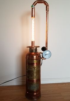 Copper and brass Vintage fire extinguisher light