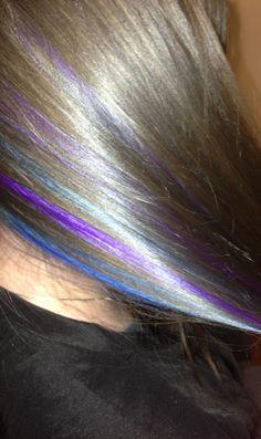 Hair by Me..FB: Stylist/Colorist Kristin Manic Panic Blue and Purple Peekaboo Highlights.