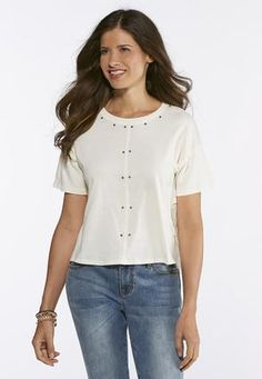 eba32fccb6d Cato Fashions Embellished Mixed Media Top  CatoFashions Your Style