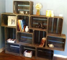 Large Wooden Crate Bookshelf With Brackets