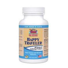 Does your dog or cat shake, cry or pant nervously when you take him to the vet? Or does he hide under the bed during thunderstorms? Ark Naturals Happy Traveler can help. It is a safe, all natural, herbal calming formula for stressed, nervous, or anxious pets.