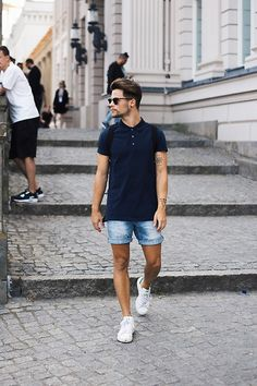 Men's Fashion . Adidas Sneakers, Zara Shorts, Asket Polo, Ray Ban Glasses