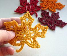 4 Crochet Maple Leaf Ornaments Multicolored by CaitlinSainio Thanksgiving Crochet, Crochet Fall, Halloween Crochet, Irish Crochet, Knit Crochet, Crochet Flower Patterns, Crochet Motif, Crochet Doilies, Crochet Flowers