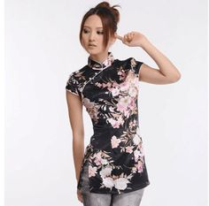Black Charming Chinese Women's Silk/Satin Tops/Shirt Blouse Cheongsam Sz: S M L