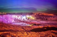 Wow! A very rare occurrence...the Northern Lights over Niagara Falls on January 9th, 2014. Photo by Aaron Bobeck.