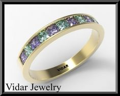 Blue Sapphire And Green Emerald 14k Yellow Gold Women Weddin | Vidar Jewelry - Unique Engaement Rings & Weddings Ring MISI Handmade Shop