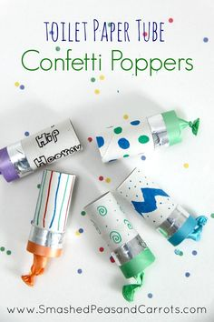 Make fun and colorful toilet paper tube confetti poppers to bring the New Year! A perfect craft for New Year's Eve Party for kindergartners!
