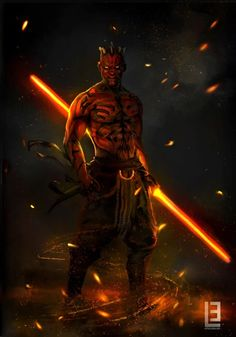 Darth Maul, the Sith Zabrak, with his double-bladed lightsaber Art by Maryna Babych {Artstation} See the best Star Wars art of previous months here. Star Wars Fan Art, Star Wars Concept Art, Star Wars Pictures, Star Wars Images, Star Wars Jedi, Star Trek, Cadeau Star Wars, Cuadros Star Wars, Star Wars Painting