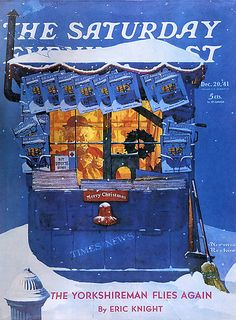 12/20/1941... Newstand in Snow - by Norman Rockwell - on cover of the Saturday Evening Post -