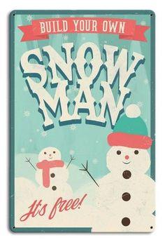 "DECOR /""BUILD A SNOWMAN/"" SIGN CHRISTMAS XMAS METAL NOVELTY WALL PLAQUE"