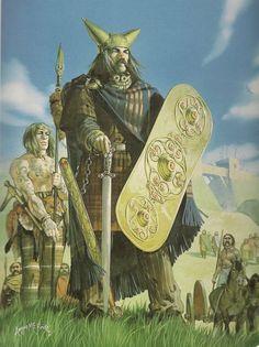 The Iron Age British Warrior King, Cassivellaunus. Artwork by Angus McBride.
